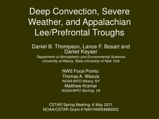 Deep Convection, Severe Weather, and Appalachian Lee/Prefrontal Troughs
