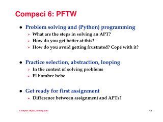 Compsci 6: PFTW