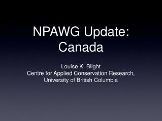 NPAWG Update: Canada
