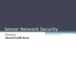 Sensor Network Security