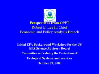 Perspectives from  OPPT Robert E. Lee II, Chief Economic and Policy Analysis Branch