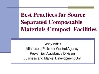 Best Practices for Source Separated Compostable Materials Compost  Facilities
