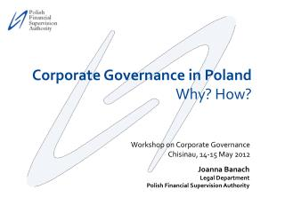 Workshop on Corporate Governance Chisinau, 14-15 May 2012