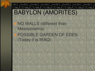 BABYLON AMORITES