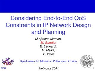 Considering End-to-End QoS Constraints in IP Network Design and Planning
