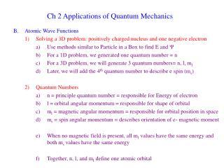 Ch 2 Applications of Quantum Mechanics