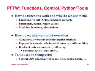 PFTW: Functions, Control, Python/Tools