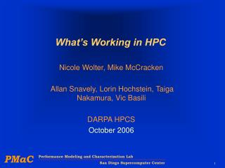 What's Working in HPC