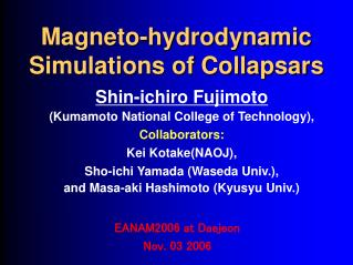 Magneto-hydrodynamic Simulations of Collapsars