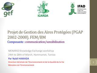 MENARID  Knowledge  Exchange workshop 24th  to 28th of March, Hammamet, Tunisia  Par Nabil HAMADA