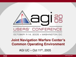 Joint Navigation Warfare Center's Common Operating Environment
