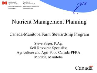 Nutrient Management Planning Canada-Manitoba Farm Stewardship Program