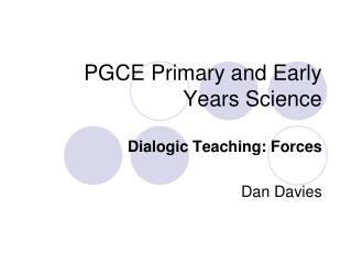 PGCE Primary and Early Years Science
