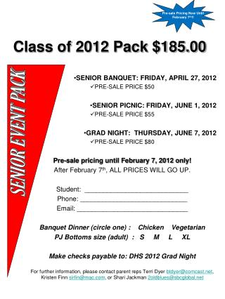 Class of 2012 Pack $185.00