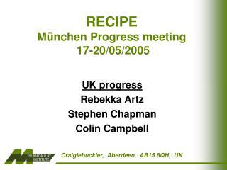 RECIPE  M � nchen Progress meeting  17-20/05/2005