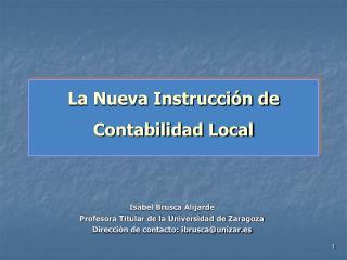 La Nueva Instrucción de Contabilidad Local