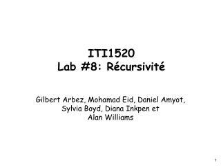 ITI1520 Lab #8: Récursivité