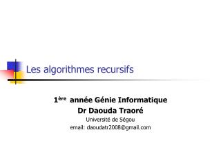 Les algorithmes recursifs