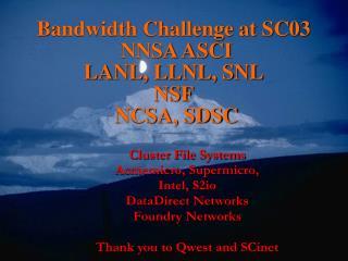Bandwidth Challenge at SC03  NNSA ASCI LANL, LLNL, SNL NSF  NCSA, SDSC