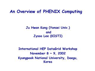 An Overview of PHENIX Computing