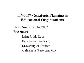 TPS3037 - Strategic Planning in Educational Organizations