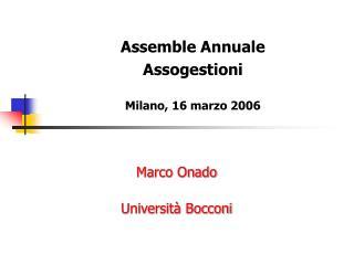 Marco Onado  Università Bocconi