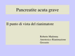 Pancreatite acuta grave