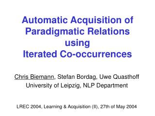 Automatic Acquisition of Paradigmatic Relations using  Iterated Co-occurrences