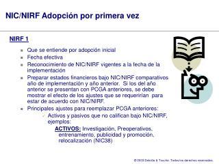 NIC/NIRF Adopción por primera vez