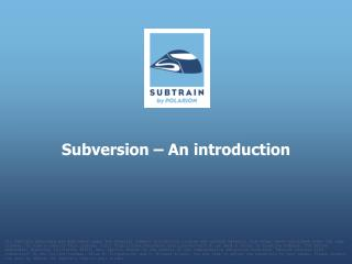 Subversion – An introduction
