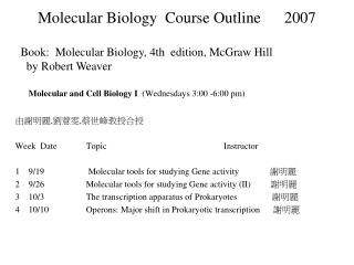 Molecular Biology  Course Outline      2007