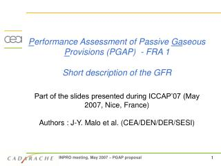 Introduction:  global GFR safety approach 		1/2