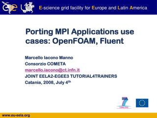 Porting MPI Applications use cases: OpenFOAM, Fluent
