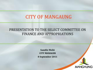 PRESENTATION TO THE SELECT COMMITTEE ON FINANCE AND APPROPRIATIONS