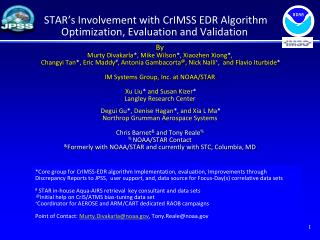 STAR's Involvement with CrIMSS EDR Algorithm Optimization, Evaluation and Validation