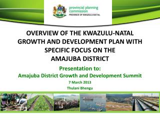 Presentation to:  Amajuba District Growth and Development Summit  7 March 2013 Thulani Bhengu