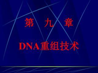 第 九 章 DNA 重组技术