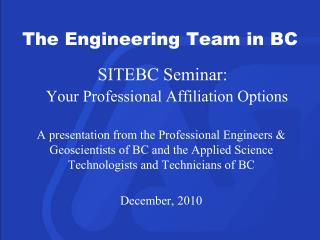 SITEBC Seminar: Your Professional Affiliation Options