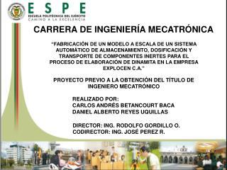 CARRERA DE INGENIERÍA MECATRÓNICA