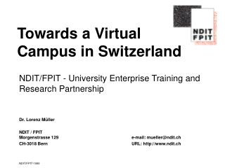 Towards a Virtual Campus in Switzerland
