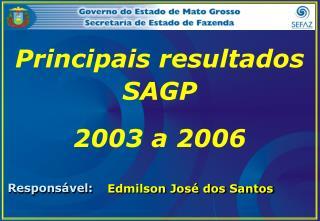 Principais resultados SAGP  2003 a 2006