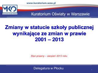 Zmiany w statucie szkoły publicznej wynikające ze zmian w prawie 2001 – 2013