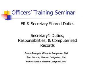 Officers' Training Seminar