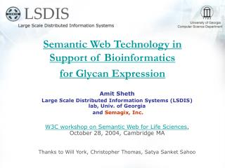 Semantic Web Technology in  Support of Bioinformatics  for Glycan Expression