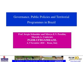 Governance, Public Policies and Territorial Programmes in Brazil