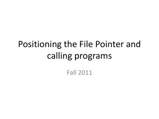 Positioning the File Pointer and calling programs