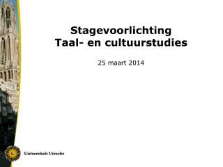 Stagevoorlichting  Taal- en cultuurstudies