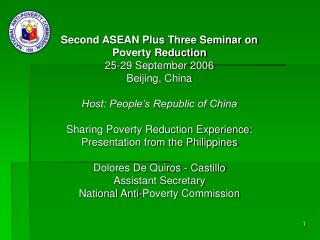 Second ASEAN Plus Three Seminar on Poverty Reduction 25-29 September 2006 Beijing, China