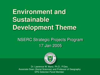 Environment and Sustainable Development Theme