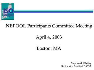 NEPOOL Participants Committee Meeting April 4, 2003 Boston, MA